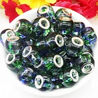 20pcs 16mm big round rondelle large hole glass beads spacer fit european pandora charm bracelet necklace for women hair jewelry