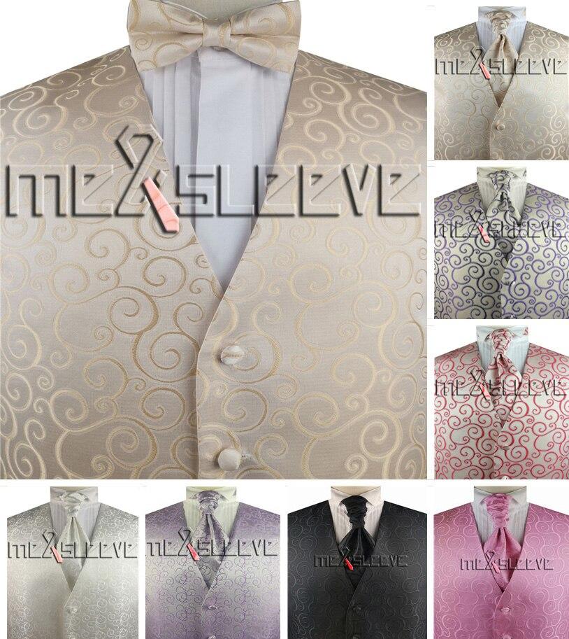 free shipping woven microfiber  swirl wedding tuxedo tailored waistcoat 3pcs