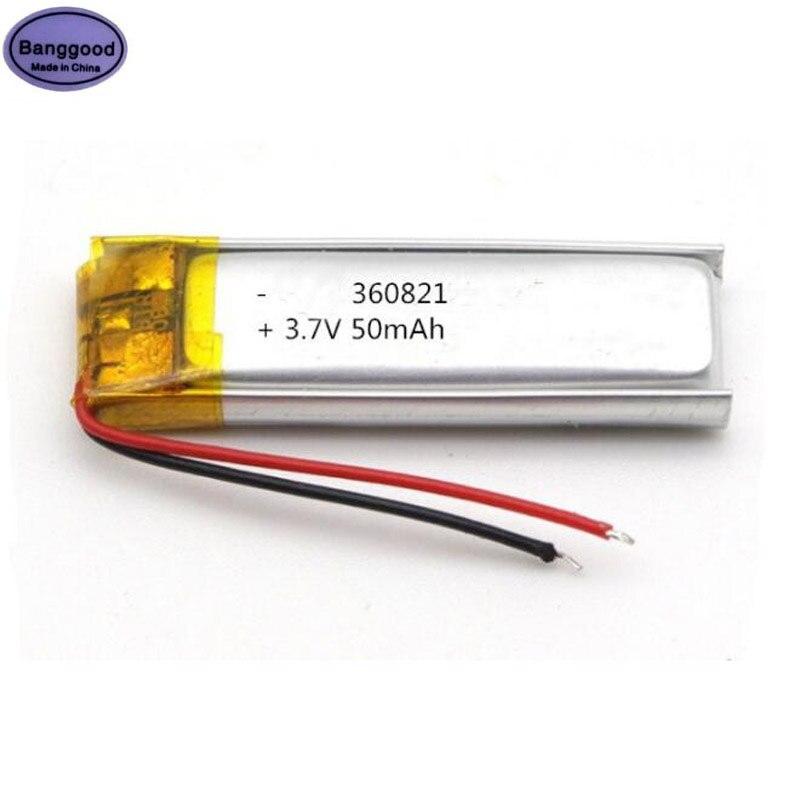 Banggood 3,7 V 50mAh 360821 360820 Lipo полимерная литий-ионная аккумуляторная батарея для Bluetooth гарнитуры MP3 MP4