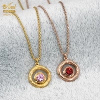 aniid woman necklace zircon pendant choker jewelry rose gold stainless steel chain charm fashion vintage accesorios