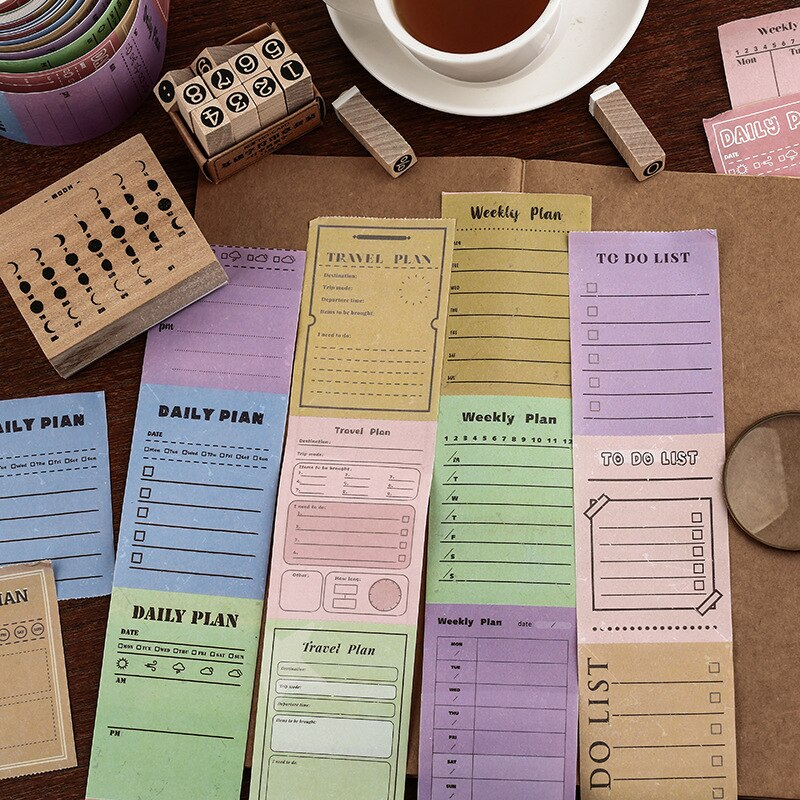 5patterns vintage style to do list washi tape scrapbooking planner notebook decorative daily week month plan sticker