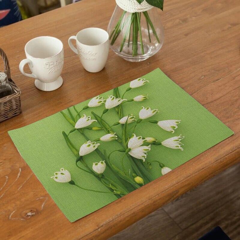 1 Uds. Manteles individuales PARA CENA DE cocina con diseño de flores, posavasos, posavasos de algodón, cojines de lino, tazones, alfombrillas para decoración del hogar