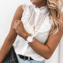 Camicetta da donna camicia senza maniche in pizzo bianco Sexy 2021 estate donna elegante Sexy colletto arricciato canotte camicette tinta unita