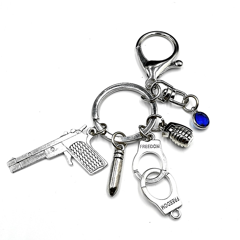 AliExpress - 1PCS 2020 New Fashion 8 Color Crystal Pistol / Bullet / Handcuffs / Metal Keychain Gift New Popular and Fun Handmade Personality