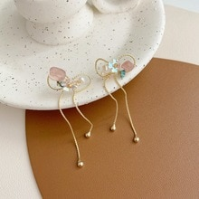 Boucles doreilles pendantes en cristal Simple et rose, avec nœud papillon, mignon pour femmes, 2020, nouveauté