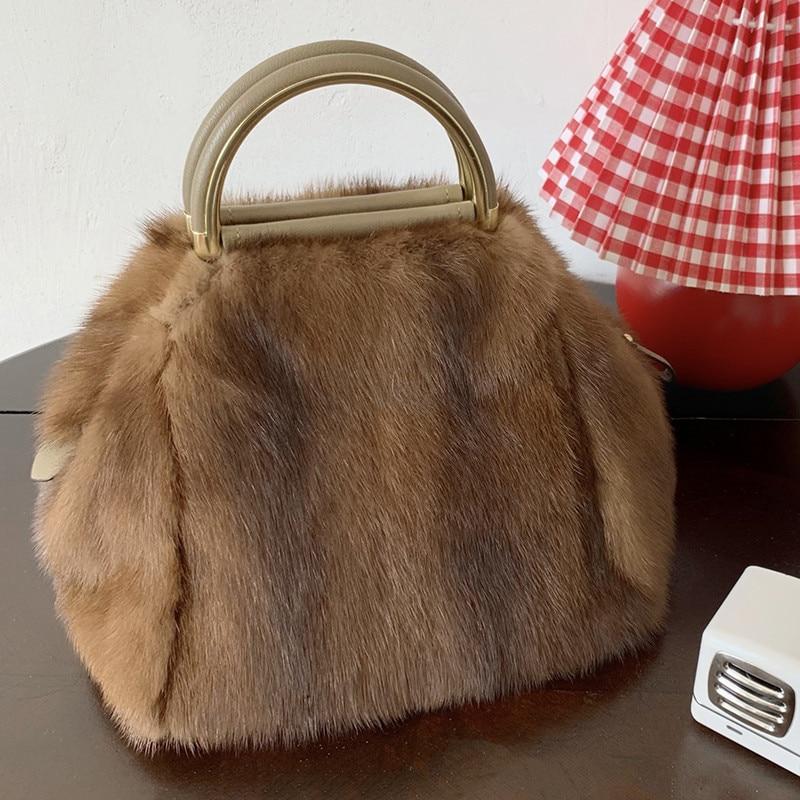 100% сумка из меха норки, сумка-тоут, сумка, брендовая вечерняя сумка, женская сумка, роскошная дизайнерская вечерняя сумка из норки