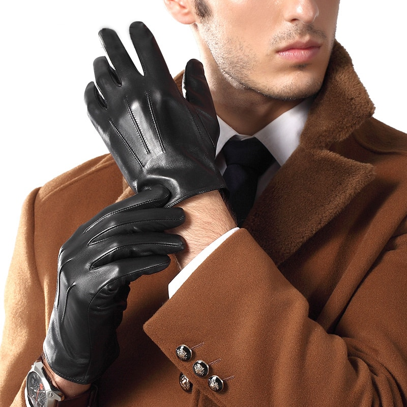 Real Leather Gloves Male Spring Autumn Thin Sheepskin Gloves Man Business Casual Leather Gloves Free Shipping TE3863-56 man s real leather gloves thin spring autumn driving sheepskin gloves male unlined fashion simple free shipping te0625a