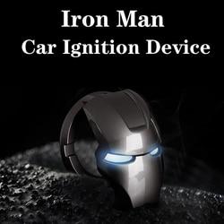 Homem de ferro carro parada de partida do motor botão de ignição chave anel decoração botão capa guarnição adesivo 3d acessórios interiores do carro