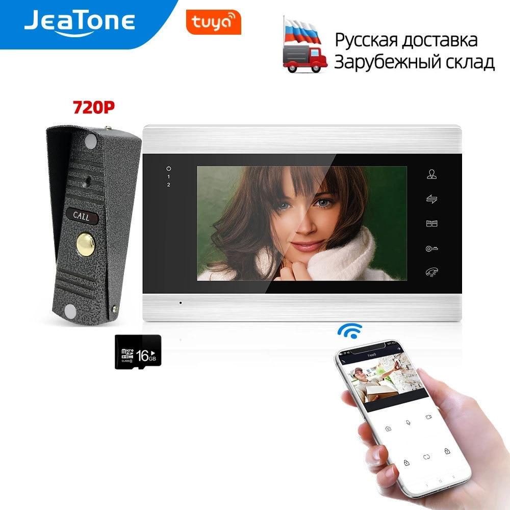 JeaTone واي فاي تويا الذكية فيديو باب الهاتف نظام اتصال داخلي المنزل اللاسلكي فيديو إنترفون مع 720P/AHD السلكية كاميرا الجرس ، 110 °