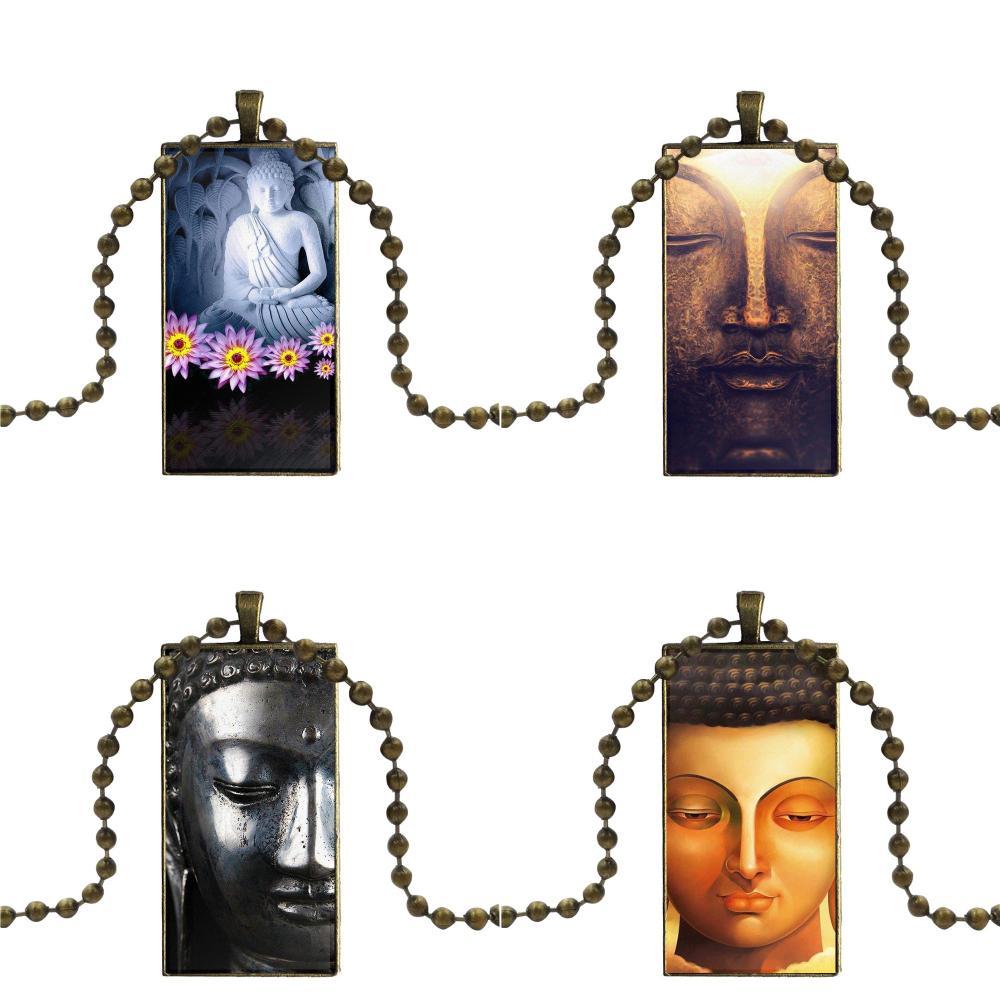 Budha cara para regalo de fiesta Unisex marca de acero Color joyería moda declaración collar collares de vidrio colgantes