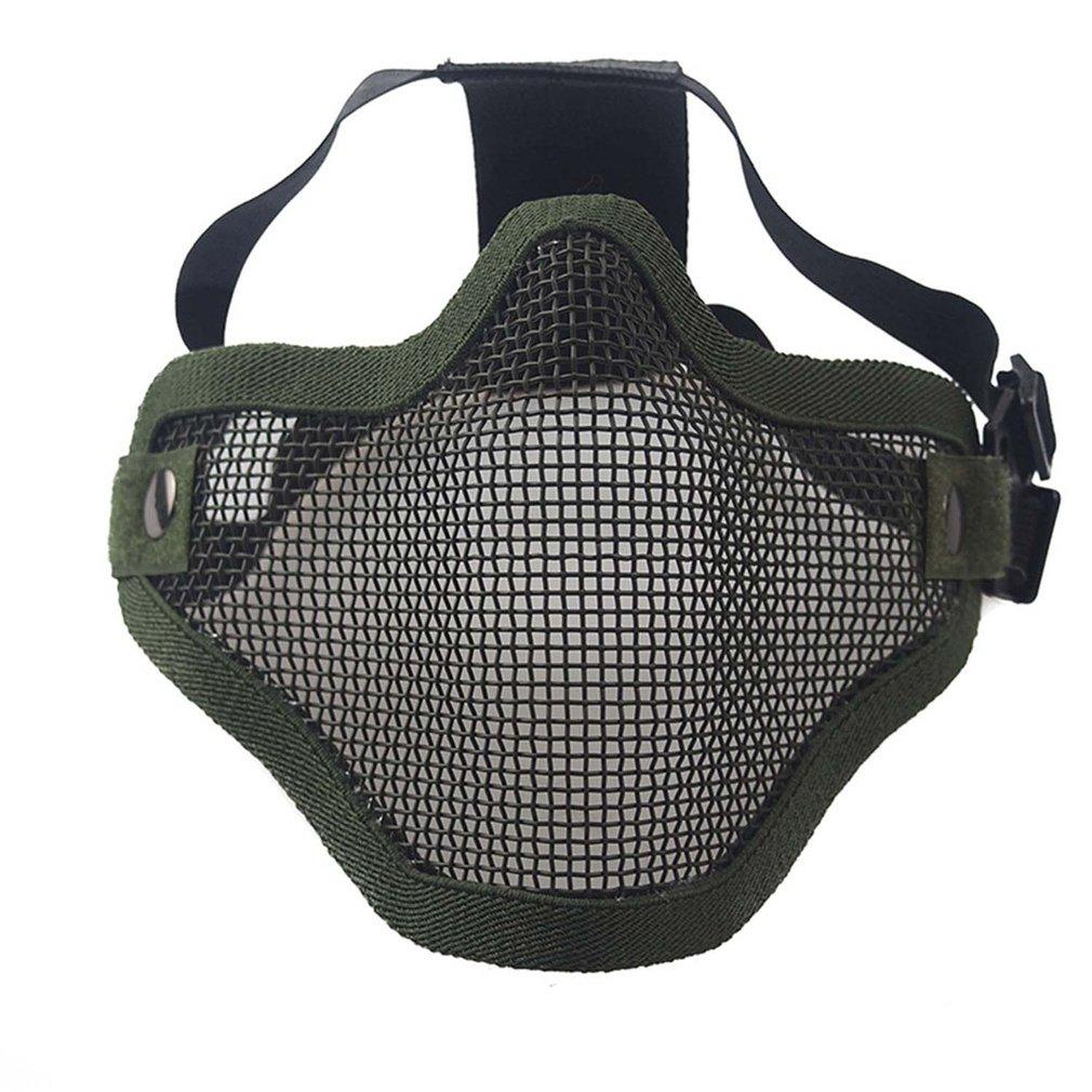 Máscara de jefe Tribal de campo de Airsoft Wargame, máscara de medio rostro de malla metálica de acero para caza, máscara protectora táctica Airsoft
