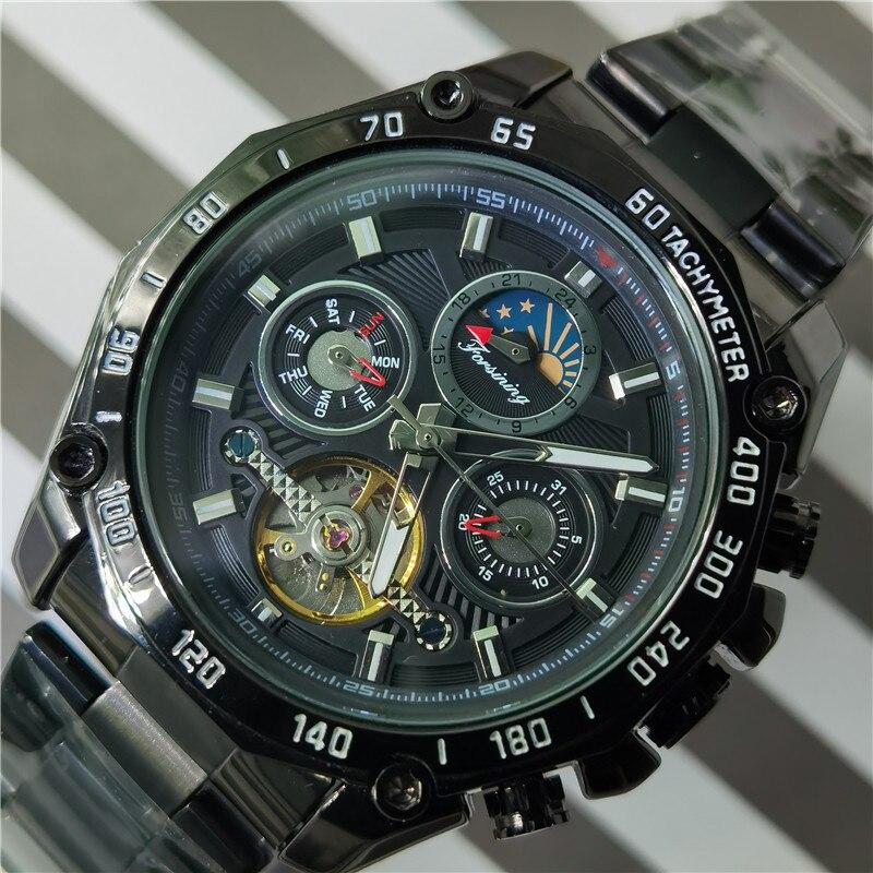 Forsining 2020 preto tourbillon relógios mecânicos masculino moonphase data banda de aço inoxidável relógio de pulso automático erkek kol saati