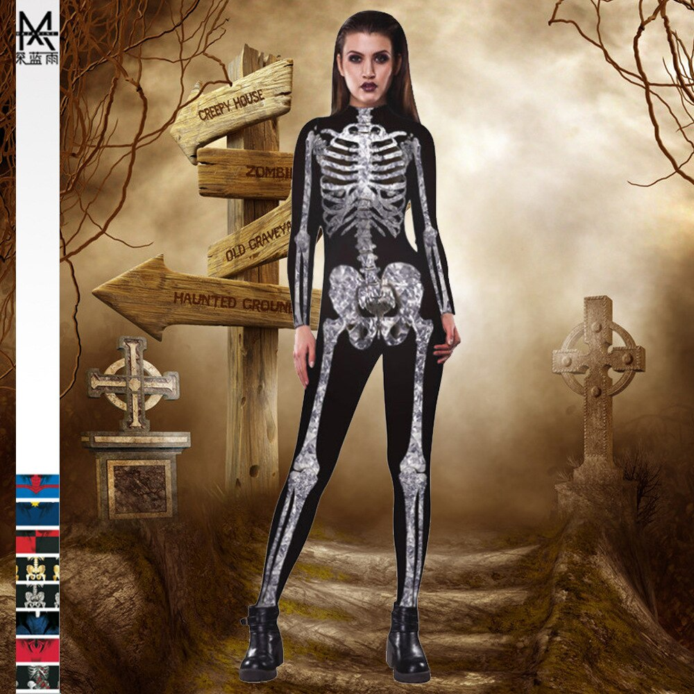 Women's Halloween Rose Skull Printed Catsuit 2021 Festive Bodysuit Cosplay Sexy Jumpsuit Fashion Wom