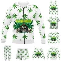 new funny 3d full print weeds leaves t shirtsweatshirtzip hoodiesthin jacketpants four seasons casual suit v67