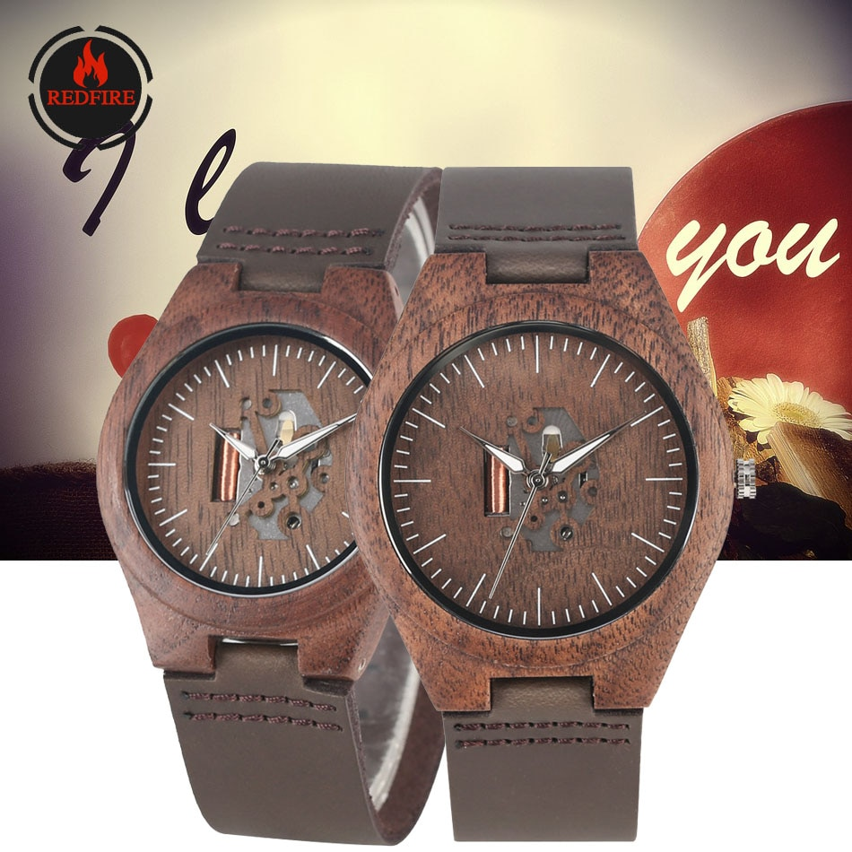 REDFIRE Creative Hollow Dial Walnut Wood Watch Couple Watches Quartz Movement Hot Fashion Lovers Genuine Leather Wood Wristwatch wooden couple watch quartz leather band handmade walnut wood watches hollow dial valentine s day lover gift reloj para parej