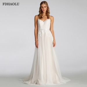 FDHAOLU FU60 New Arrive Spaghetti Straps V-neck Backless Appliques Lace Sexy A-line Wedding Dress Vestido Noiva Sereia