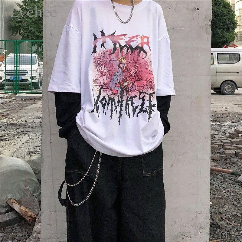 2 peças de impressão do caráter do harajuku do lychee t camisa superior do t das mulheres do falso