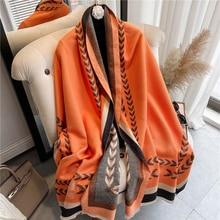 Winter 2021 New Cashmere Scarf Women Tassels Pashmina Warm Thick Blanket Shawls Wraps Print Fashion