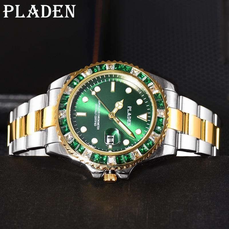 PLADEN Top Brand Men Sports Watches Quartz Magnifier Auto Date Luminous Wrist Watches Waterproof Swim Dive Green Diamond Clocks