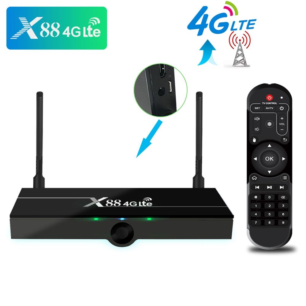 X88 4G LTE Android 7,1 caja de TV compatible con tarjeta SIM RK3328 Media Player 2,4G 5G WiFi 2GB RAM 16GB ROM H.265 4K HD receptor inteligente