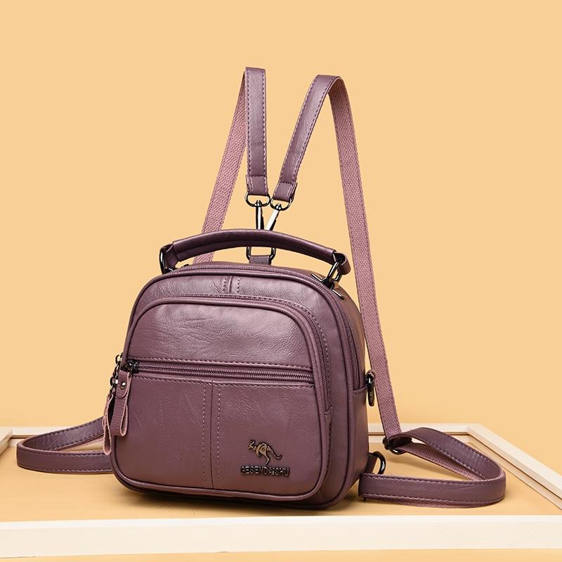 Multifunction Leather Backpacks Women Travel Backpack Mini School Bags for Teenage Girl Casual Kangaroo Female Backpack Mochila