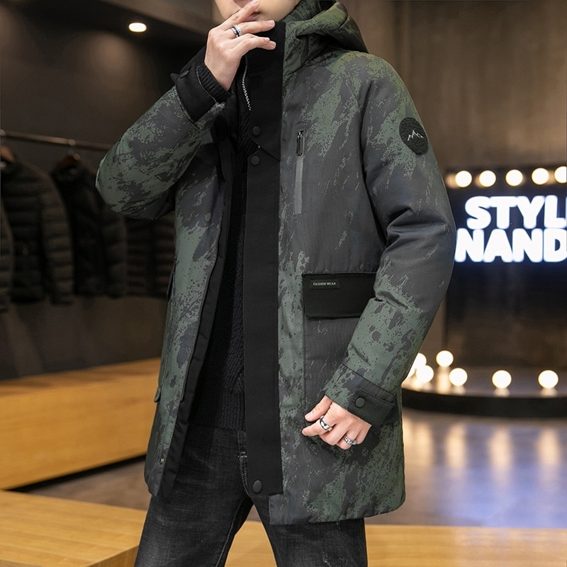 Down jacket men's winter new thickened white down hooded medium length coat proof camouflage windbreaker