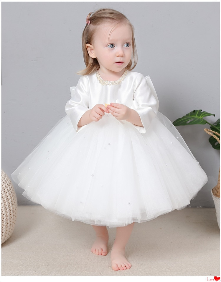 1st Birthday Baby Girls Dress Pearl Bow Princess Wedding Party Kids Dresses For Girls Baby Baptism Dress Girls Ball Gown Vestido enlarge