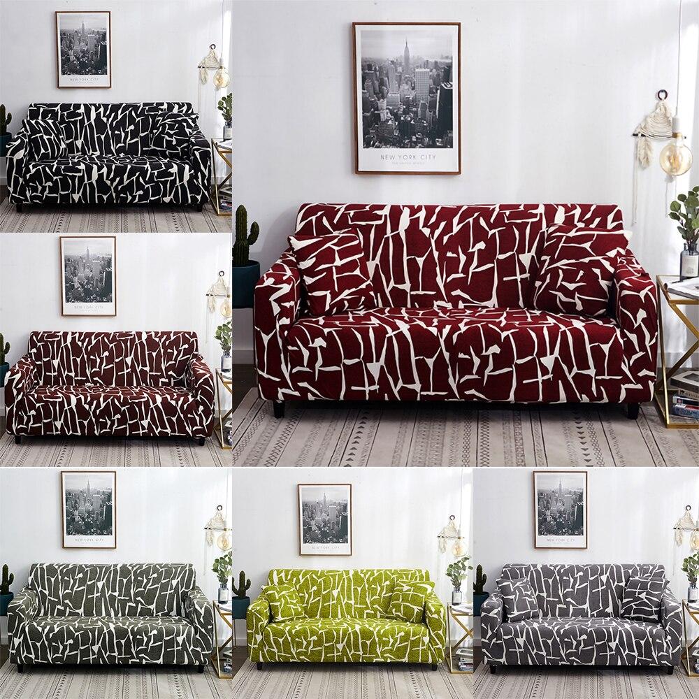 Abstrato listras estiramento sofá capa para sala de estar elástico totalmente envolto sofá capa universal protetor 1/2/3/4 seater