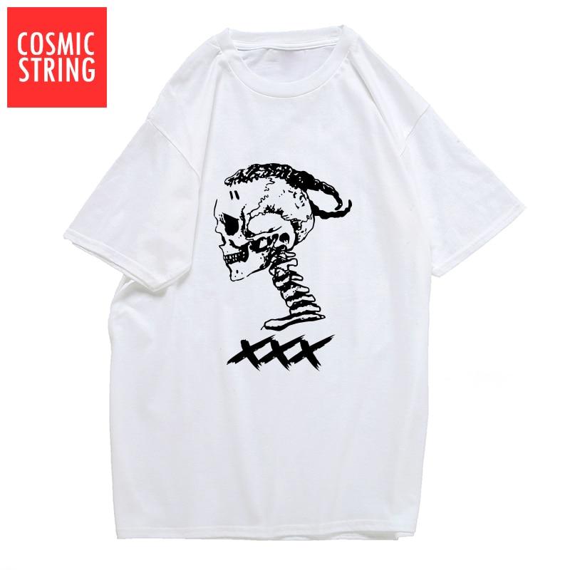 Cuerda cósmica 100% algodón xxxtentacion estampado de calavera genial camiseta para hombre pantalón corto casual manga para hombre Camiseta cuello redondo camisetas