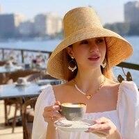 summer lamp shape sun hat for women big wide brim beach straw hat top ladies straw hats uv protection derby travel women cap new