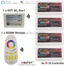 Contrôleur de bande de LED Miboxer DC12V 24V 10A RGB 2.4G sans fil 4 zones à distance/APP WiFi / Alexa Google contrôle vocal