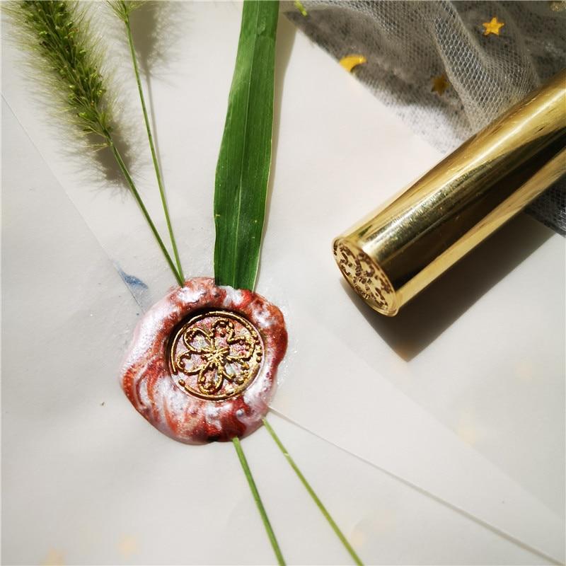 1 Uds. Sellado cilíndrico cera latón vintage sobre sello tarjeta decoración flor sakura sello
