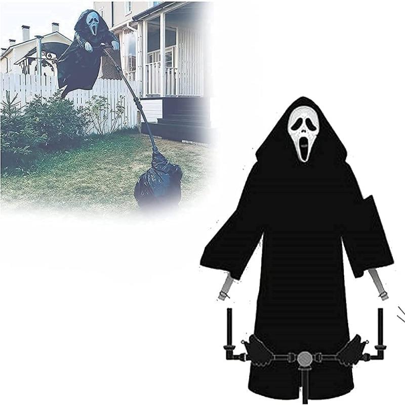 هالوين الصراخ Ghostface فزاعة حديقة ديكور ساحة طارد الطيور لوحات فنية معلقة مخيف شبح تحلق الدعائم لوازم هالوين