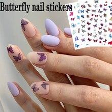 3D bricolage coloré papillon ongles autocollants décoration des ongles nail art transfert décalque papillon ongles autocollants