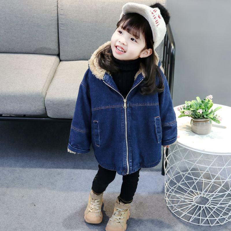 2020 Autumn Winter Fashion Children Girls Casual Thick Warm Denim Coat Kids Girl Woolen Jeans Jackets Baby Hooded Outwear W182 enlarge