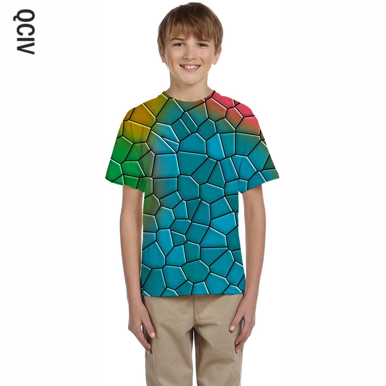 QCIV разноцветная Футболка boy, футболка с геометрическим рисунком, футболки с рисунком, повседневные футболки в стиле Харадзюку, 3d детская оде...