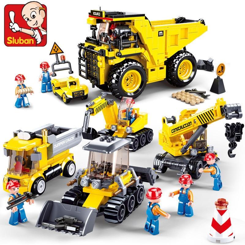 Городской механический инженерный автомобиль, бульдозер, самосвал, строительные блоки, строительные блоки, развивающие игрушки, рождестве...