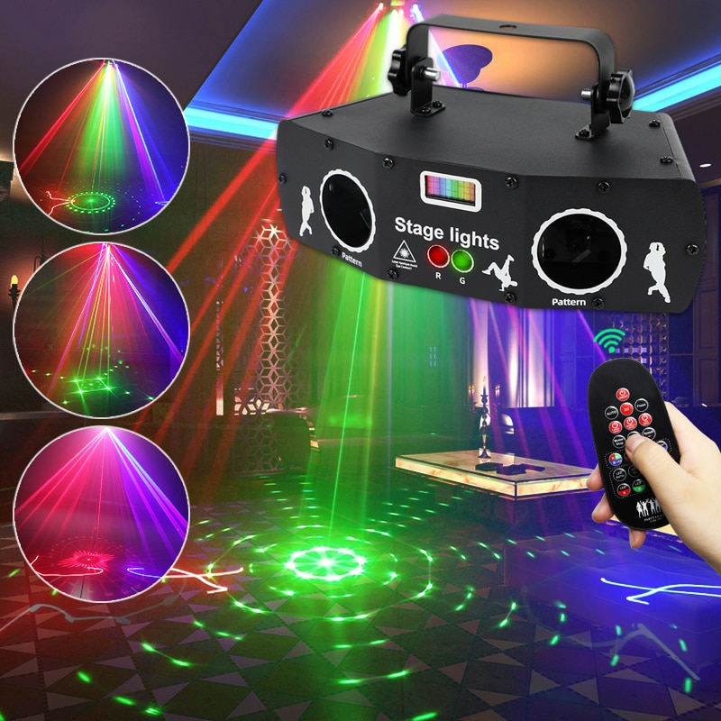 2021 New Laser Projector Disco Light with Voice Control Sound Party Lights for Club Home DJ Laser Show Music Lamp Beam Strobe