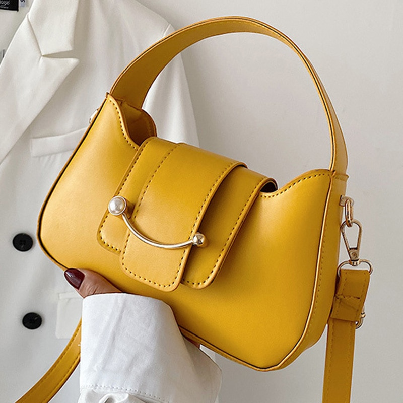 Solid Color Shoulder Crossbody Bags For Women 2021 PU Leather Women's Designer Pearl Smiley Handbag