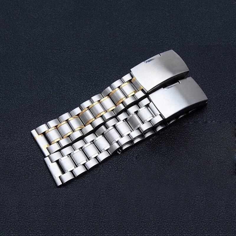 Купить с кэшбэком Stainless Steel Watch band Solid Metal Watch Bracelet Strap Men Women Watchband 14mm 16mm 18mm 20mm 22mm 24mm Butterfly Clasp