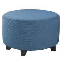 stretch ottoman covers removable round pouffe sofa cover extendable footrest seat slipcover soild color footstool protector