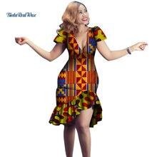 Robes africaines pour femmes imprimer robes drapées Vestidos Bazin Riche africain Ankara robes col en v femmes vêtements WY4149