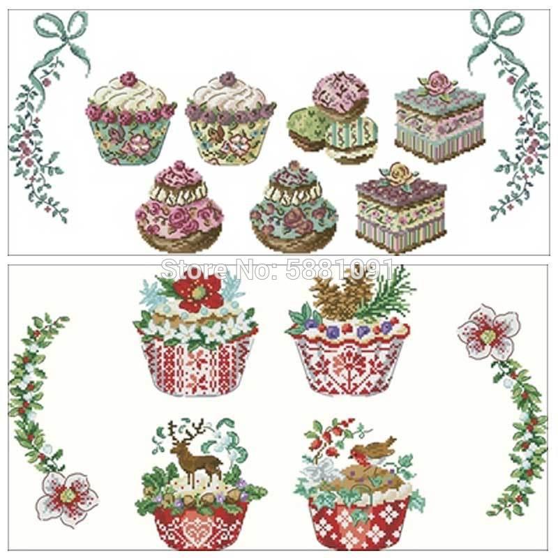 Délicieux gâteau nappe compté point de croix 11CT 14CT 18CT bricolage point de croix Kits broderie couture ensembles décor à la maison
