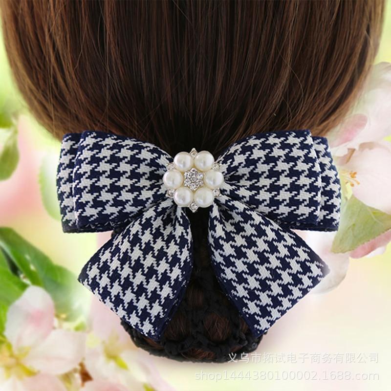 Hair accessories bow head flower pearl handmade net bag hair clip professional fabric Alloy Plaid Barrettes Fashion Women GIFT