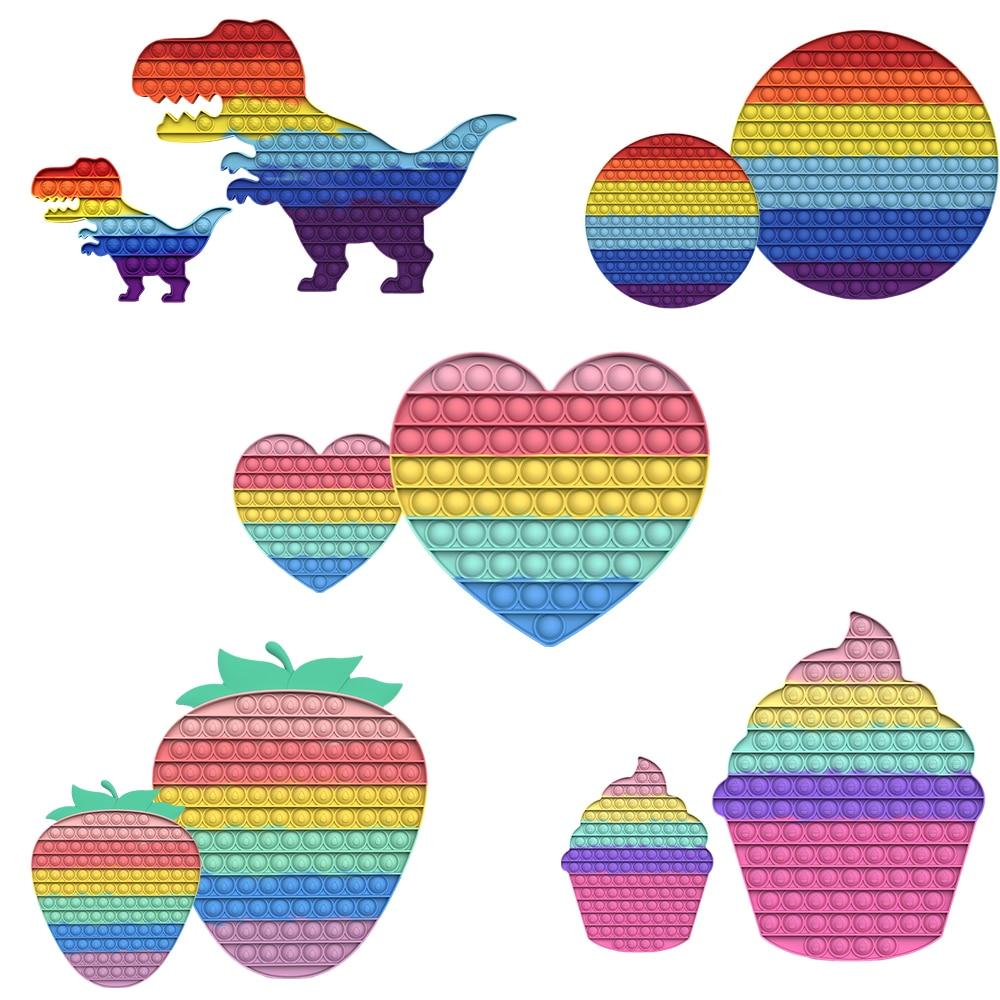 Super Large Push Bubble Pop Fidget Toys Rainbow Anti-stress Reliever Toys For Adult Children Kids Push Pop Fidget Squeeze Toys