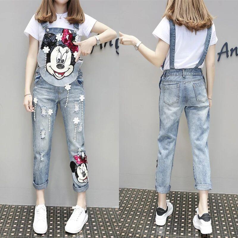 Весенние новые модные джинсовые комбинезоны темпераментные свободные тяжелые работы Микки мультфильм джинсовый детский нагрудник брюки ж...