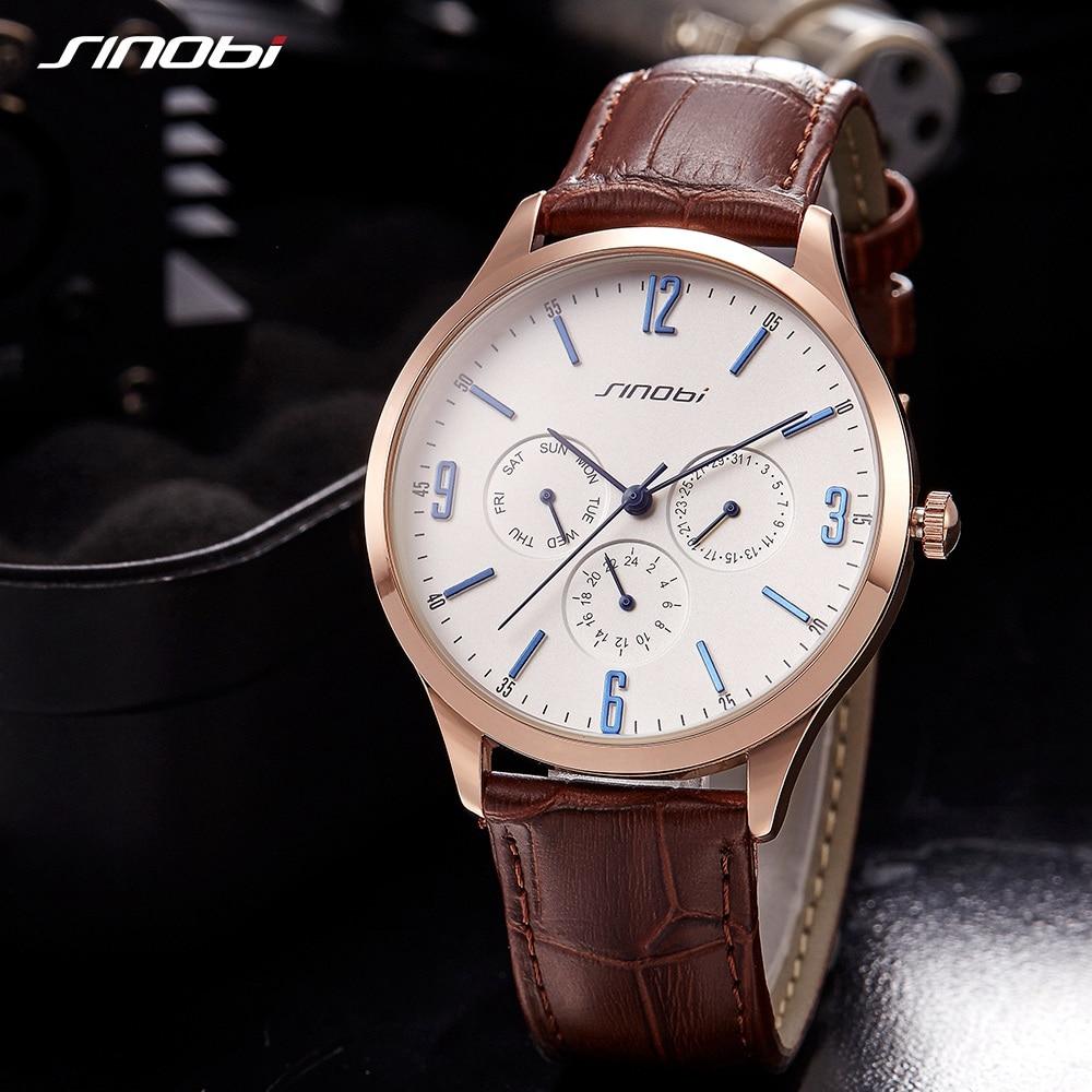 SINOBI Fashion Watch Men Luxury Leather Quartz Wristwatches Casual Life Waterproof Watches Male Sport Clockes Montre Homme