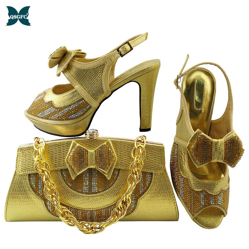 2020 Latest Gold Color Italian design Ladies Shoes and Bags To Match Set Nigerian Shoes and Matching