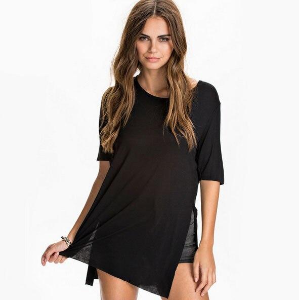 Bohocotol sommer kleid neue Europäische und Amerikanische mode vordere kurze zurück lange seite slits lose beiläufige mid ärmeln T-shirt