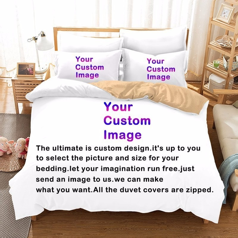 Custom Made Reactive Print Bedding Set Bedclothes DIY Bedding Linen Sheets Set Photo Logo Customized Any Design